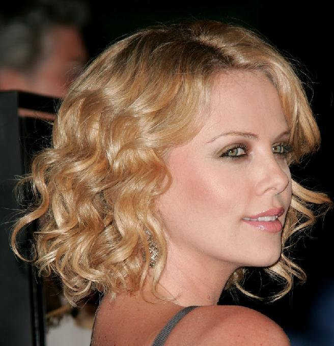 Long bob curly blonde hairstyle