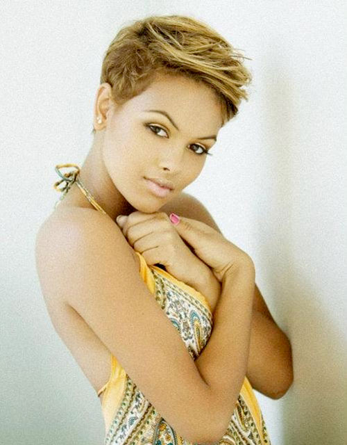 blonde hair pixie haircut for black women