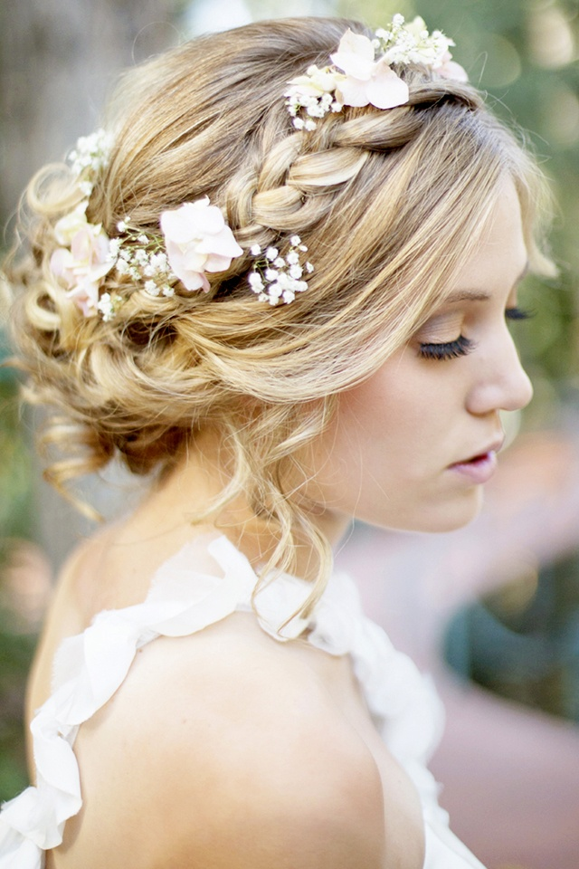 Wedding Hairstyle With Crown : Braided crown hairstyle for wedding day with flowers and