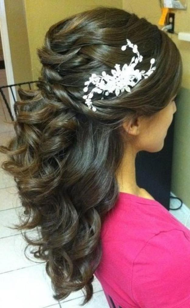 Modern dress for girls for bridal functions - Half Up And Half Down Bridal Hairstyles Women Hairstyles