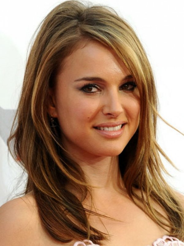 Straight Layered Medium Length Hairstyle For Women With Round Face Shape
