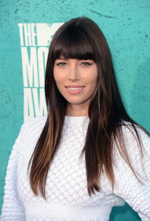 Celebrity side swept bangs