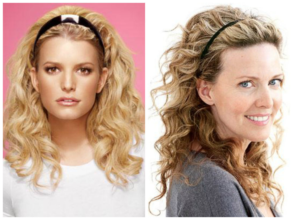 curly-hairstyle-with-headband-for-oval-face-shape - Women Hairstyles