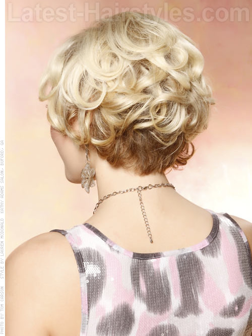 Short Blonde Layered Style With Lots Of Volume Back View
