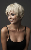 Very short blonde pixie hairstyle