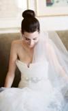 wedding veil with top knot high bun hairstyle
