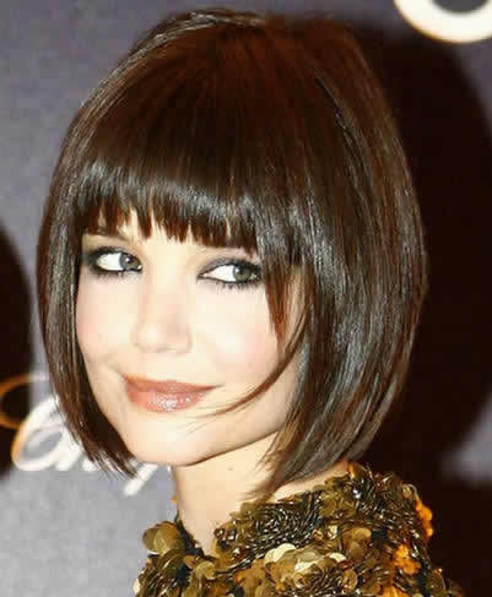 A Chin Length Bob Haircut With Fringe