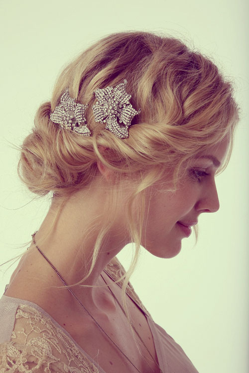 Short Curly Wedding Hairstyles With Hair Accessories and Updo