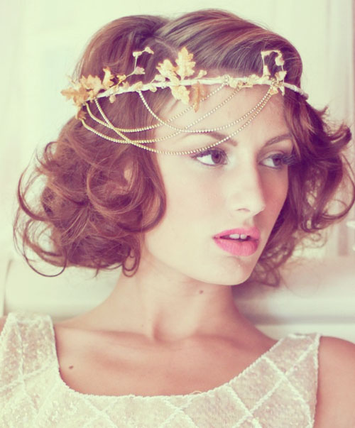 Short curly tiara bridal hairstyles