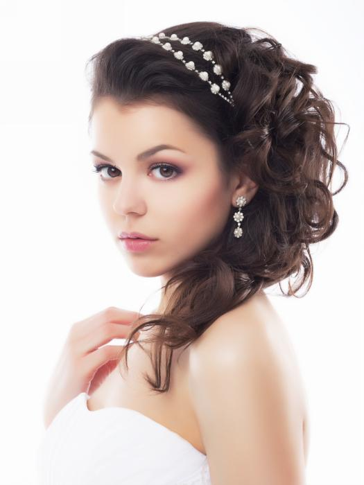Brown Hair Half Up Half Down Curly Wedding Hair Style With Head Band Women Hairstyles