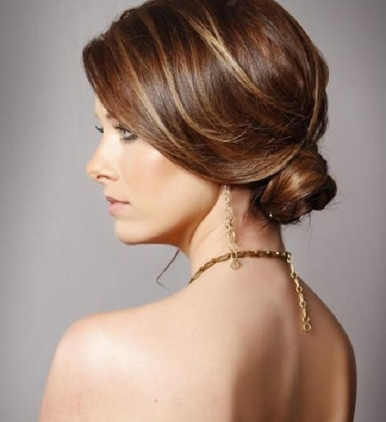 Sophisticated Low Bun Highlighted Style Side View Women