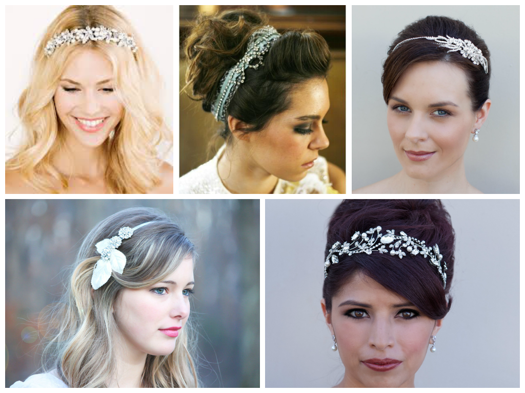 Rhinestone headbands are a bridal favorite.