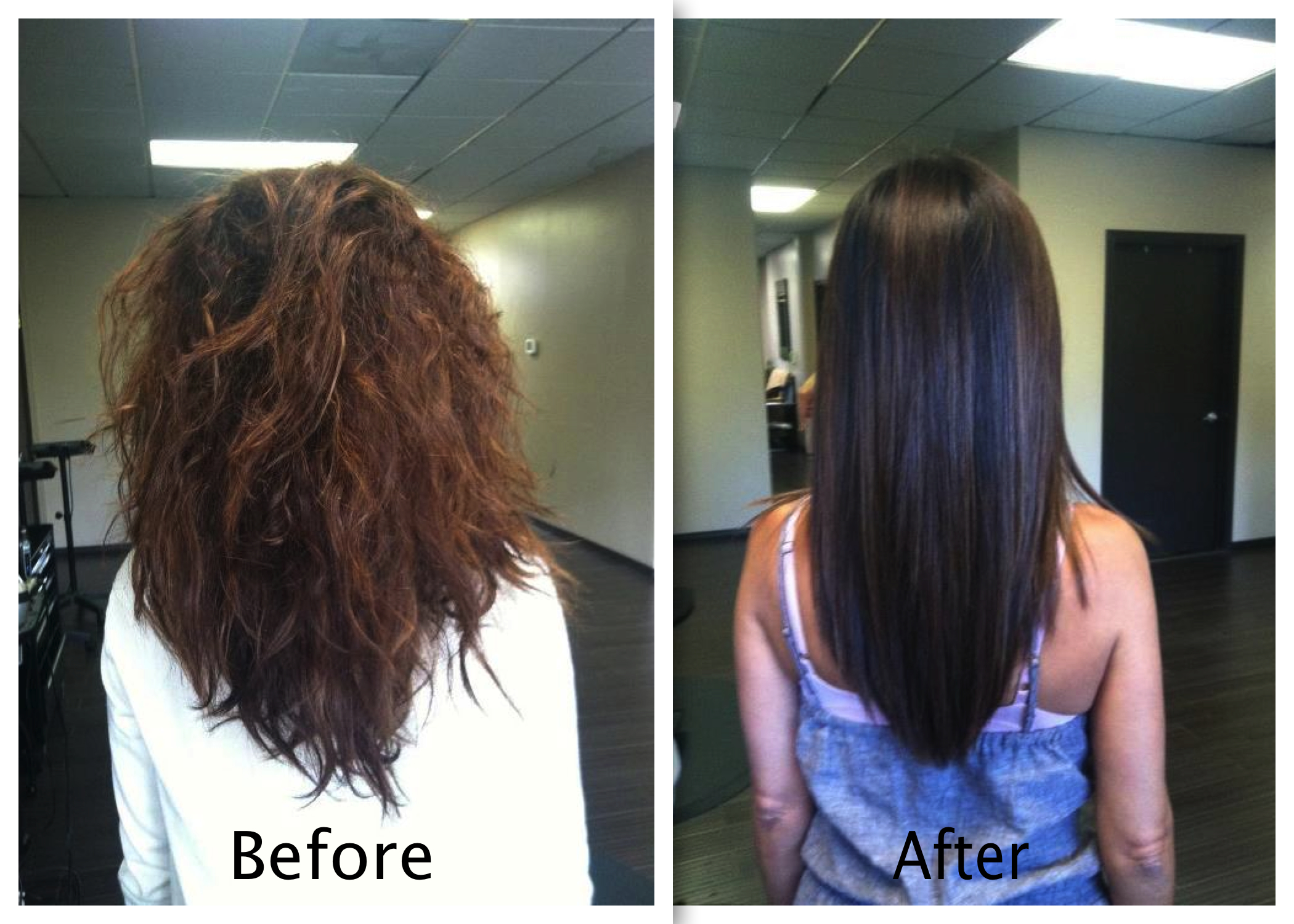 Keratin Straighten Treatment Before And After Women
