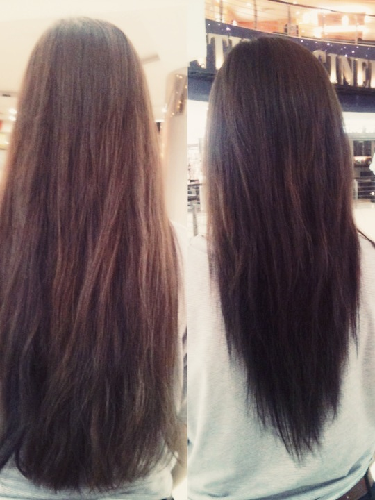Long Hair V Shape Cut Before And