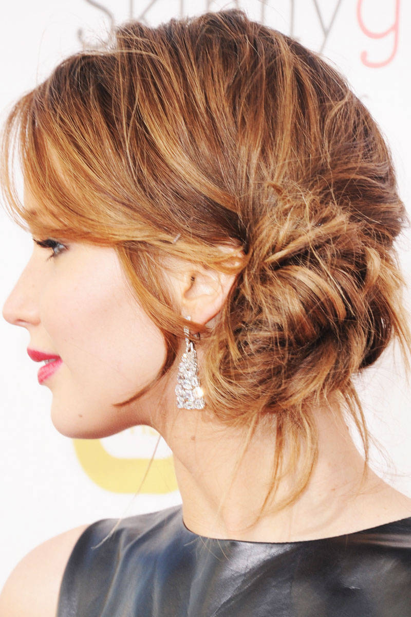 famous hair style best s different hairstyles 7010 | Jennifer Lawrence Side Bun